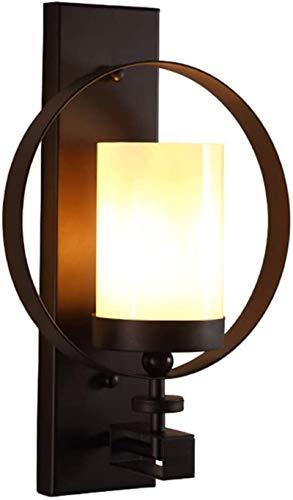 Lámparas de pared industriales, Luz de pared interior rústico retro candelabros simple anillo redondo diseño láctea blanca helada cristal sombra negro lampara de hierro de hierro labrado e27 socket pa