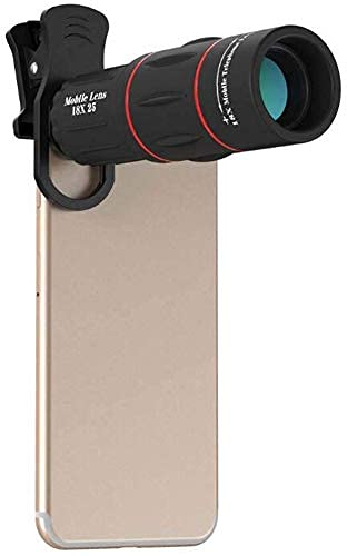 HaoLi Binoculares, monoculares, fotografía de Foto HD Externa, Enfoque Ajustable, teléfono Inteligente Inteligente 18X, teleobjetivo, Cabezal de telescopio