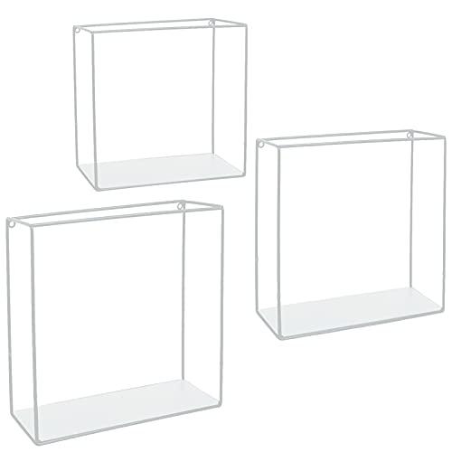 Stonebroo Cubo Estantes de Pared Metálicos, Juego de 3 Estantes Flotantes, 32/30/28cm, para Sala de Estar, Cocina, Dormitorio, Baño, Blanco LBJ10W