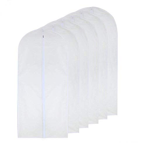 Garment Bag Clear 24'' x 48'' Long Suit Bag Dust Moth Proof Garment Bags White Breathable Full Zipper Dust Cover for Dance Dress Clothes Pack of 6