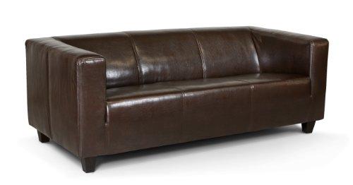 Collection AB 3-Sitzer Sofa Kuba 186 x 88 cm, Kunstleder, braun