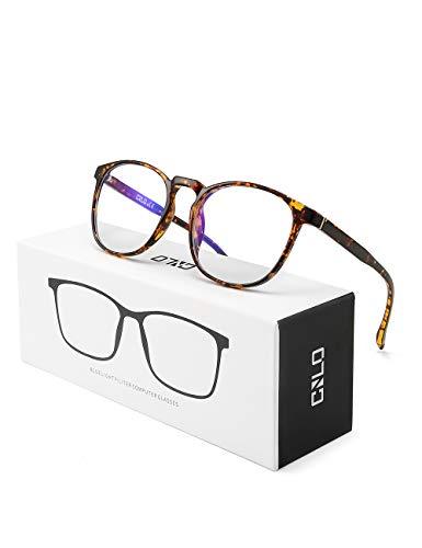 CNLO Blaulicht-Brille, Computer-Brille, Strahlenschutz, Gaming-Brille, UV-Schutz, Anti-Augenanstrengung, Linse, leichter Rahmen, Herren/Damen bernsteinfarben