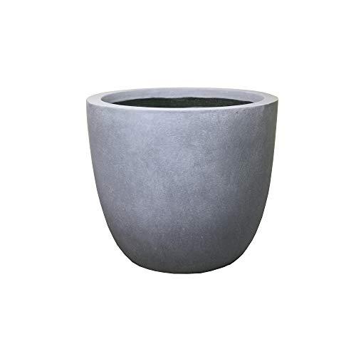 Kante RC0050B-C60611 Lightweight Concrete Modern Outdoor Round Planter, Slate Gray