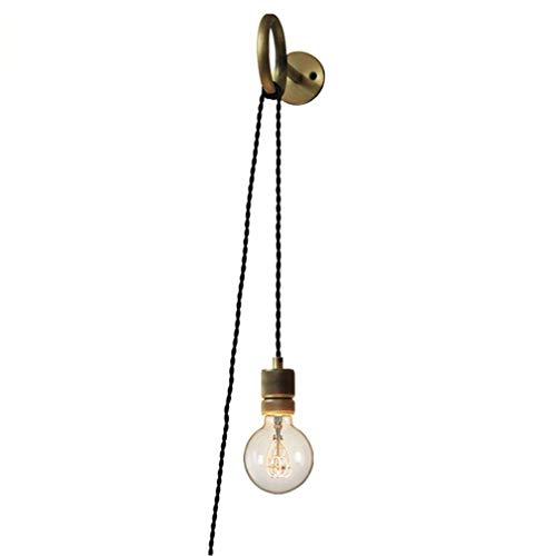 DIY Wandleuchte Retro Kreativ Industrie Edison-Lampe, 2.0 Meter Kabel mit Stecker, Spiegelleuchte Nachttischlampe mit Schalter Loft Mode Wandlampe Esszimmer Bar Design Leuchte Messing E27 Fassung