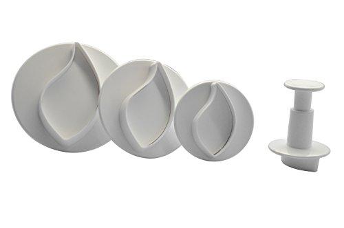 DeColorDulce Feuilles et pétales Grandes Set emporte-pièces avec éjecteur, Blanc, 28 x 10 x 5 cm, Lot de 3