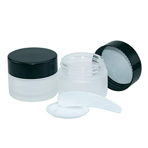 10pcs 15ml Dépoli Bocaux en Verre, Pot Vide en Verre Récipient Cosmétique avec Couvercle pour Échantillon de Crèmes Stockage de Maquillage,42X34X30mm