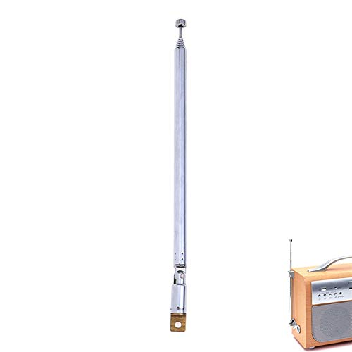 Antena antena para radio TV de plata 7 secciones Telescópicas expandidas Longitud total 765mm
