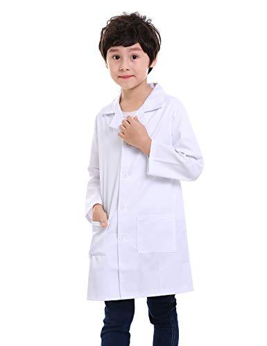 TopTie Bata de Laboratorio, Médico Abrigo Blanco, Disfraz Doctor, Juegos de rol y Experimentos Científicos,Unisex