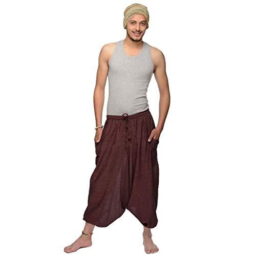 Haremshose Pumphose Aladinhose Pluderhose Yoga Goa Sarouel Baggy Freizeithose Singharaja Herren Farbe Braun, Größe One Size