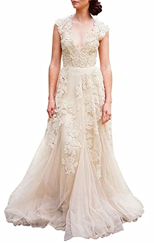 Roulai V-Neckline Tulle and Lace Wedding Dresses
