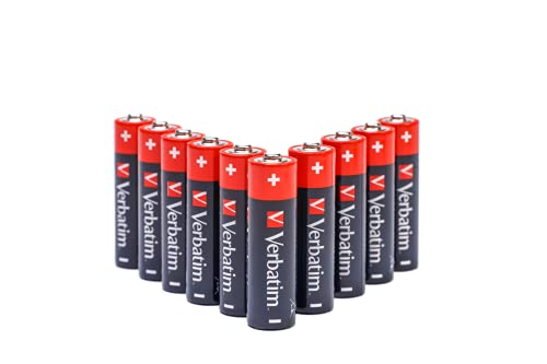 Verbatim - Pilas (Single-Use Battery, AA, Alcalino, Cilíndrico, 1,5 V, 10 Pieza(s) Negro, Rojo (49875)