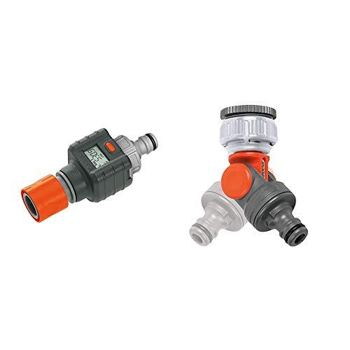 Gardena 8188-20 Aqualímetro, Negro, Naranja, 30 x 20 x 20 cm + M110358 - Conectador articulado 2998-20