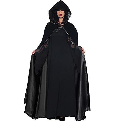MBEN Halloween Incappucciato Mantello Costume Lungo e Vestito da Partito, Strega Regina malvagia Costume Spirito Vampiro Vesti Costume Cosplay Prestazioni Fase Mago,XL