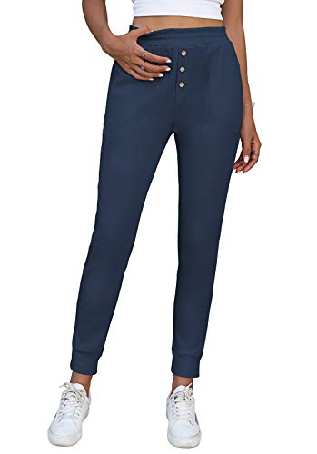 NIMIN Women's Joggers Pants Comfy Waffle Knit Loungewear Elastic Waist Workout Running Sweatpants with Pockets Navy Blue X-Large