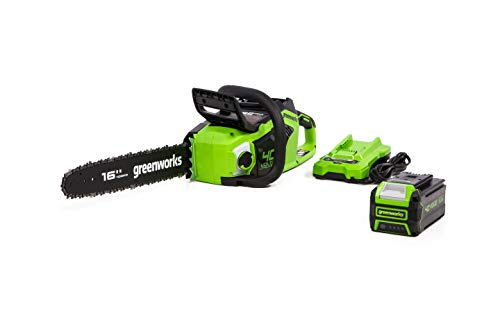 Greenworks 40V 16-inch Chainsaw with 4Ah USB Battery (Power Bank) and Standard Charger, CS40L412