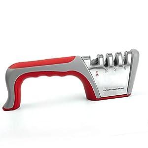 Kaimeilai Afilador de cuchillos manual para tijeras, afilador de cuchillos de cocina con diseño antideslizante y ergonómico para uso doméstico y chef, afilador profesional.