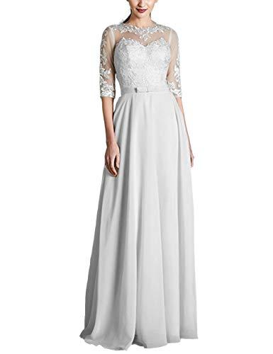 Brautkleider A-Linie Spitze Chiffon Hochzeitskleider Prinzessin mit Ärmel Brautkleid Abendkleid Schlicht mit Gürtel Weiß 48