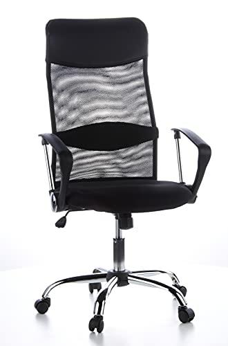 hjh OFFICE 621100 silla de oficina home office ARIA HIGH tejido de malla / piel sintética negro, muy cómodo, respaldo alto elegante, con soporte lumbar, cromado, con apoyabrazos