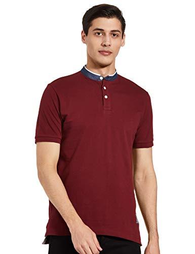 Amazon Brand - Inkast Denim Co. Men's Solid Regular fit Polo Shirt (INPK-02_Deep Maroon & OWT S)