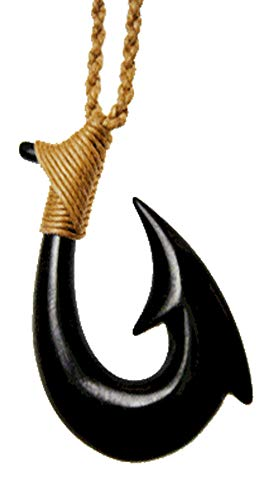 Island Sense Pacific Hawaiian Hand Carved Black Horn Two-Barb Fish Hook Necklace Men.