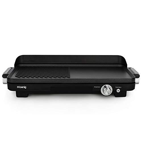H.Koenig GRX330 Grill et Plancha Electrique Compact 2 en 1 Professionnel, pour Intérieur, Plaque Amovible et compatible lave-vaisselle, Revêtement Antiadhésif, Viande, Poisson, Légumes