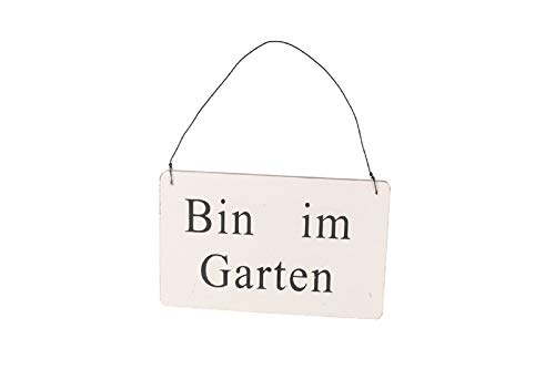 Unbekannt Schild mit Schriftzug Bin im Garten aus Holz in Weiss Shabby Chic