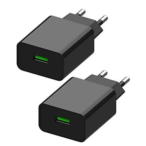 2 Unidades Quick Charge 3.0 Cargador USB, Cargador de Red 18W Cargador Móvil para iPhone 11 Pro Max/XS/XR, iPad Pro/ Air, Samsung Galaxy S9/ S8/ Note 8, LG, HTC y más