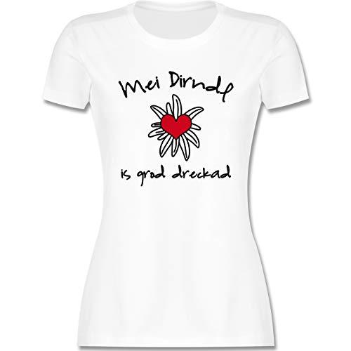 Oktoberfest Damen - Dirndl is dreckad - Shirt statt Dirndl - S - Weiß - Trachten Tshirt Damen - L191 - Tailliertes Tshirt für Damen und Frauen T-Shirt