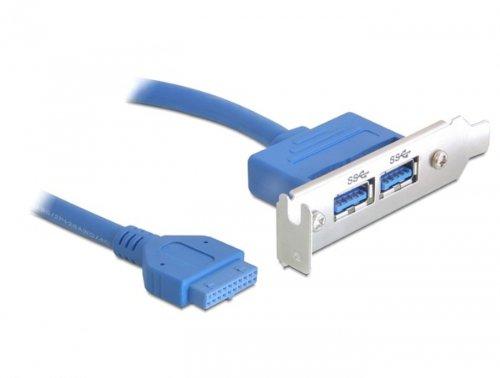 Delock Slotplaat 1 x 19 pin USB 3.0 palen socket intern > 2 x USB 3.0 Type A bus extern Low Profile