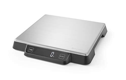 HENDI Digitale Küchenwaage, Haushaltwaage, für max 15kg, Präzision auf bis zu 1gr, mit eingebautem Digital-Display, 266x269x(H)34mm, Edelstahl
