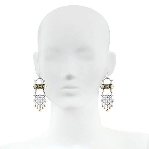 Bodha Dual Tone German Silver Stylish Oxidised Afghani Chandbali Earrings (SJ_1417)