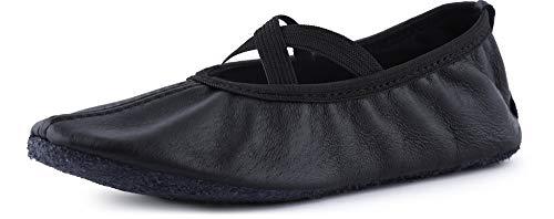 Ladeheid Zapatillas de Ballet y Bailarinas de Piel Mujer Niño y Niña (Tallas 25-41) LAJD002 (Negro, 37 EU)