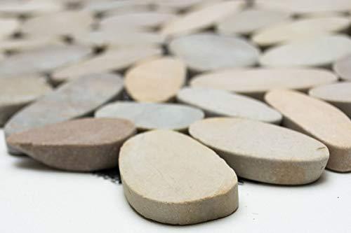 Mosaik Fliese Flußkiesel Steinkiesel hellbeige Kiesel geschnitten TAN 5 7 MOS30-IN10_m