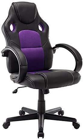 Home Bürostuhl Bürostuhl Ergonomischer Executive Chair 360 ° drehbar mit Verstellbarer Kopfstütze-Gaming-Stuhl in Büromöbeln für Haus & Büro Verwendung für Erwachsene (Farbe : Lila)