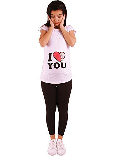 I Love You - Lustige witzige süße Umstandsmode/Umstandsshirt mit Motiv für die Schwangerschaft/T-Shirt Schwangerschaftsshirt, Kurzarm (Weiß, Small)