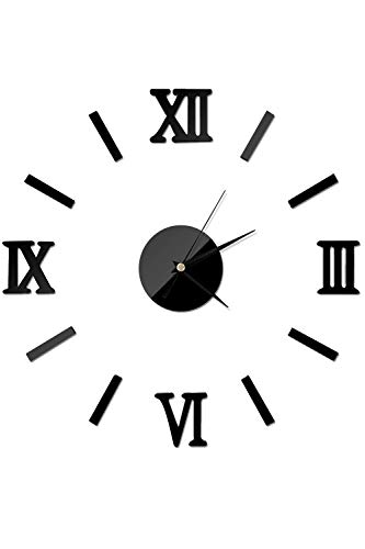 SMTD Roman Numbers Home&Office DIY 3D Frameless Removable Metal Wall Clock Fashionable and Modern Light Weight Personalized Silent Clocks (Battery NOT Included) Black