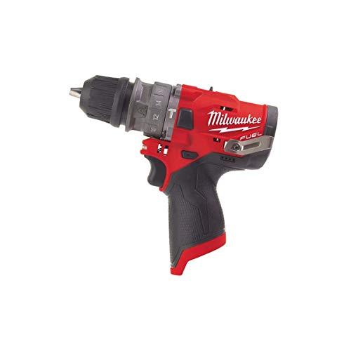 Milwaukee 4933464135 Kompakt-Schlagbohrmaschine, 12 Volt Fuel Technologie mit nur Bohrfutter-ohne Akku, 12 V, Black-Red