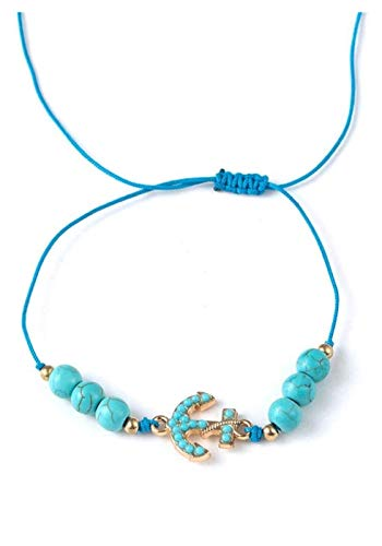 NIANXINN Pulsera de Piedra Mujeres, 7 Chakra Perlas de Piedra Natural Turquesa Ajustable Brazalete Azul Ancla Colgante joyería Yoga Reza Encanto Marino Tema Pulsera Mujer Pulsera de Chakra