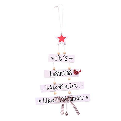 Eliky Creatieve Vrolijk Kerstmis boom hangende ornamenten houten ster letters handwerk met bowknot ring klok Kerstmis Home Party decoratie wit