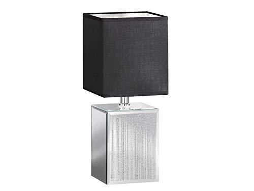 Designklassiker: Eckige LED Tischleuchte klein mit Glasfuß Silberfarben & Stoffschirm