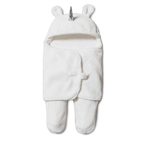 Minetom Baby Schlafsack Einhorn Swaddle Schlafsäcke Pucksack für Neugeborene Separate Beine Baby Pucktuch (Weiß)
