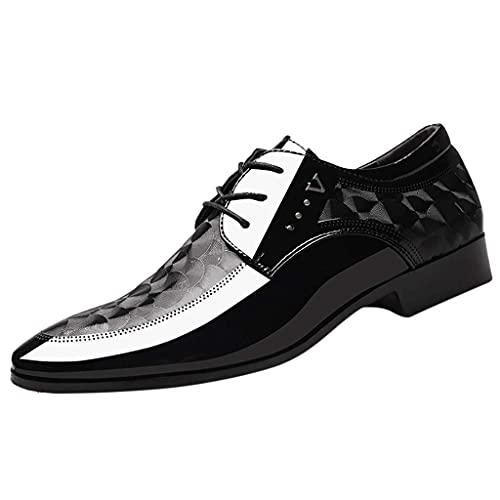 HUADUO Oxford con Cordones para Hombres, Zapatos de Cuero de Negocios con Cordones para Hombres, Zapatos de Vestir cómodos Informales, Zapatos de Traje Masculino