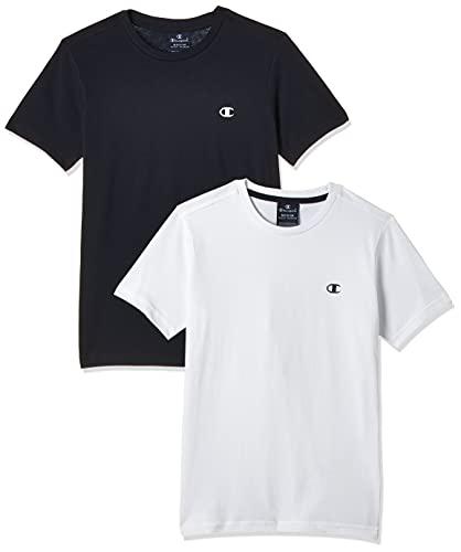Champion Legacy Classic C-Logo Camiseta, Blanco & Azul Marino, 13-14 Años (Pack de 2) para Niños