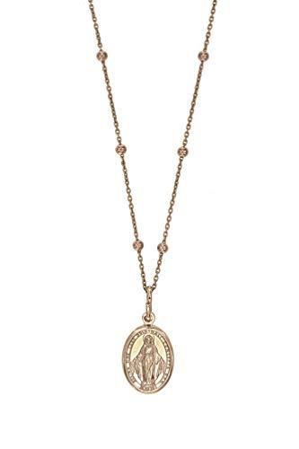 Padre Nostro Collar Medalla de la Virgen Milagrosa en Plata de Ley 925 Collares Hombre Mujer Madonnina (Plata 925 Esferas alternas de Color Rosa)