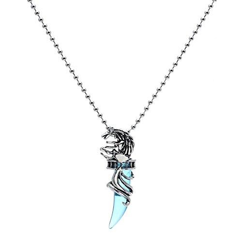 TOOGOO Mens Vintage Crystal Wolf titanium steel Pendant Necklace