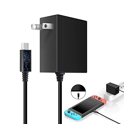 Nintendo Switch/Switch Lite用 NS ACアダプター 任天堂スイッチ 充電器 ドック代用品 TVモード対応 PSE認証済 安全保護 USB Type-Cコネクタ PD対応 クイック チャージャー 急速充電 AC100V~AC240V入力 5V 1.5A/15V 2.6A出力1.5mケーブル Nintendo Switch&Switch Lite本体/Switch ドック/Proコントローラー対応