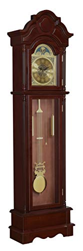 Coaster Home Furnishings Harris Grandfather Clock with Chime Brown Red...