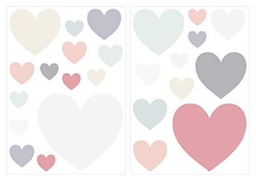 Pegatina de Pared Set habitación Infantil Corazones en Colores Pastel Elegantes en Colores Brillantes Unidades para Pegar Adhesivos de Pared Pegatinas decoración de la Pared