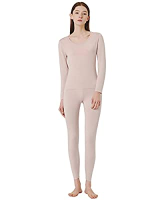 SANQIANG Women's Cotton Lace Crew Neck Thermal Underwear Set Lightweight Long Johns for Women (US Size S (Tag Reads L), Modal-Skin)