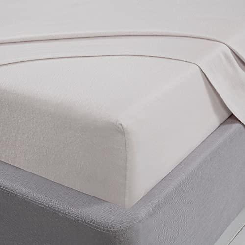 Sleepdown Sábana Bajera Ajustable 100% algodón Cepillado Franela de Lujo Suave y Acogedor Bolsillo Profundo 32 cm 32 cm 12.6 cm - Blanco - Individual